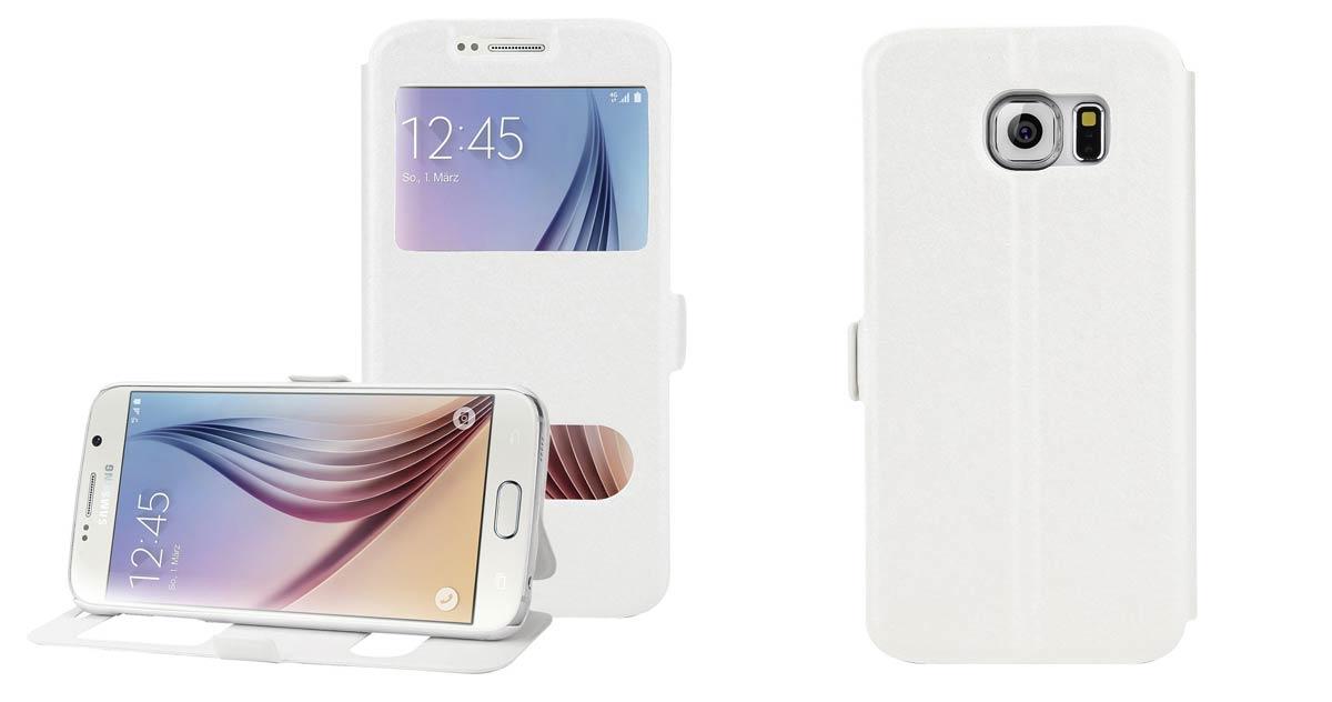 AIBULO Samsung Galaxy S7 Fall Samsung Galaxy S7 dünn Schlag Mappen Leder Magnetkastenabdeckung Standplatz weiß