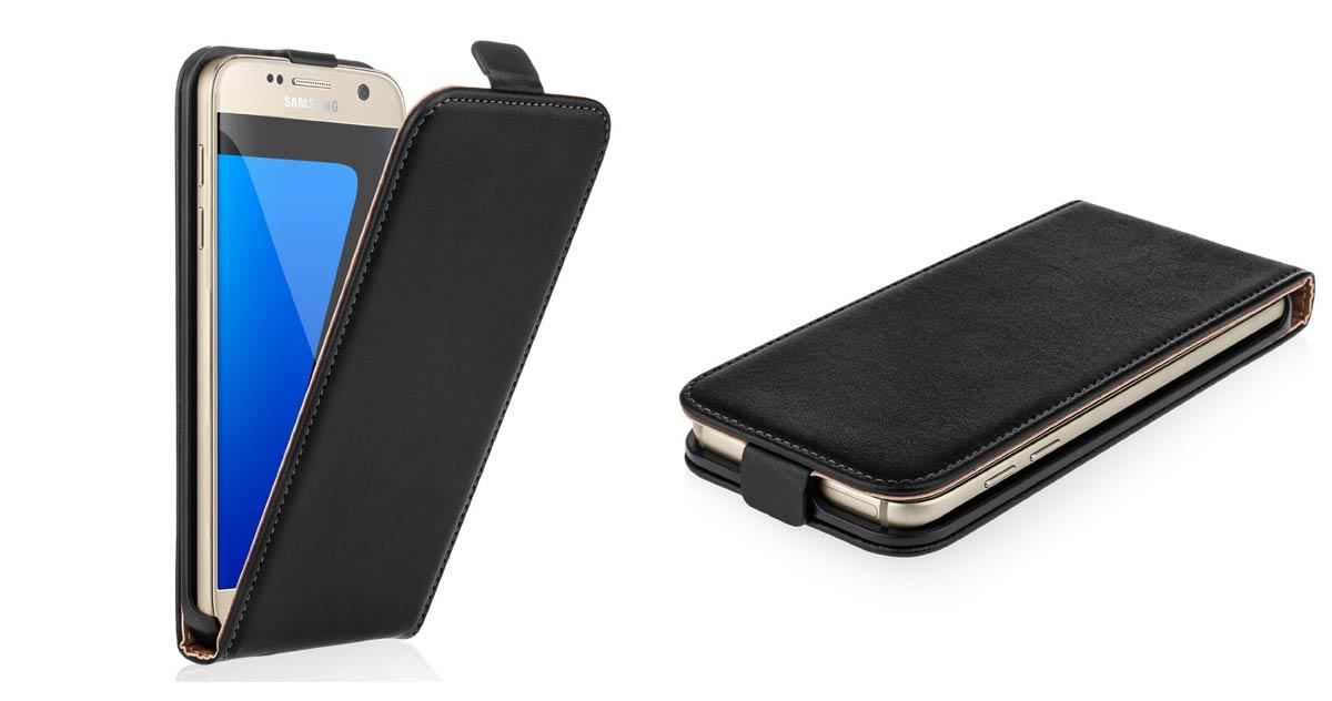 Caseflex Samsung Galaxy S7 Tasche Schwarz Echt Leder Klapp Hülle