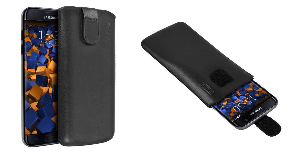 mumbi ECHT Ledertasche für Samsung Galaxy S7 Edge Tasche Leder Etui mit Rückzugfunktion Ausziehhilfe