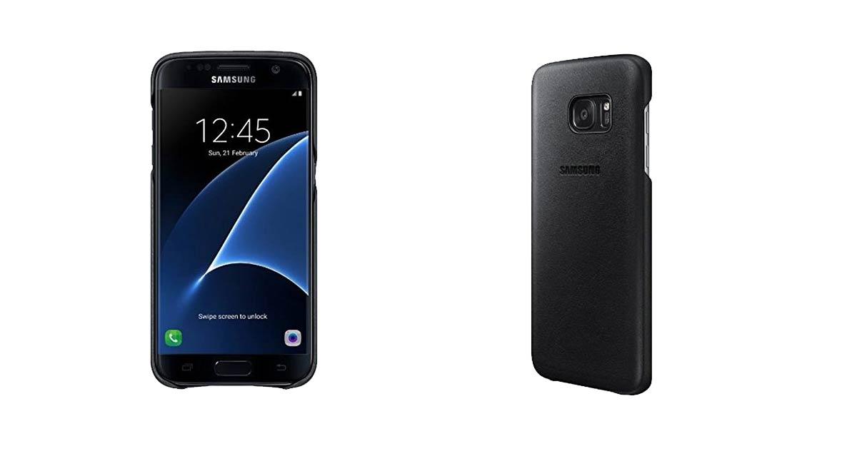 original samsung flach Leder Cover für Galaxy S7 Edge Schwarz