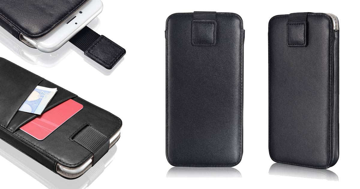 "KAVAJ Ledercase ""Miami"" iPhone 7 mit Visitenkartenslot schwarz"