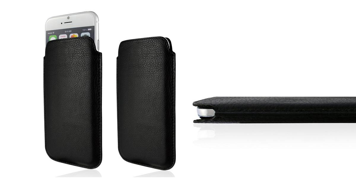 KEIB Echt Leder Tasche Apple iPhone 7 (4.7 Zoll) Schwarz extra Dünn