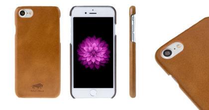 Solo Pelle iPhone 7 Case Lederhülle Ledertasche Backcover Ultra Slim in Cognac Braun